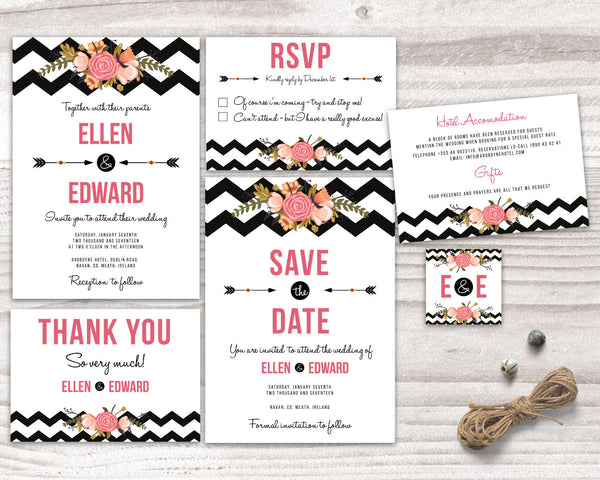 Wedding Stationary - Chevron and Flowers - Wedding Fusions