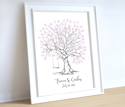 whimsical wedding thumbprint tree with swing