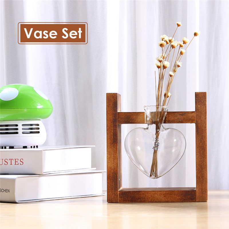 Hydroponic Heart Vase with Wooden Frame