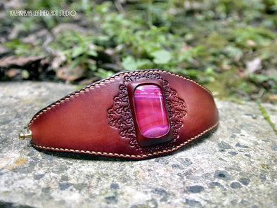 Botswana Pink Agate - Handmade leather bracelet with natural stone | Kazakhsha Leather Art Studio