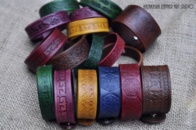 Handmade leather bracelets by Kazakhsha Leather Art Studio | Kazakhsha Leather Art Studio
