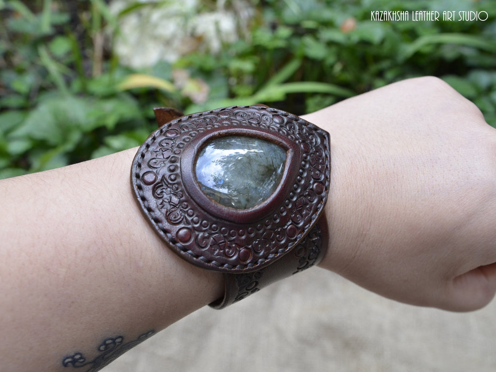 Labradorite natural stone Leather Bracelet - №4 - 50 shades of leather bracelets