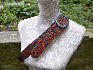 Leather belt tooled Classic Western Design Maple Leaves, belt for her, gift for her
