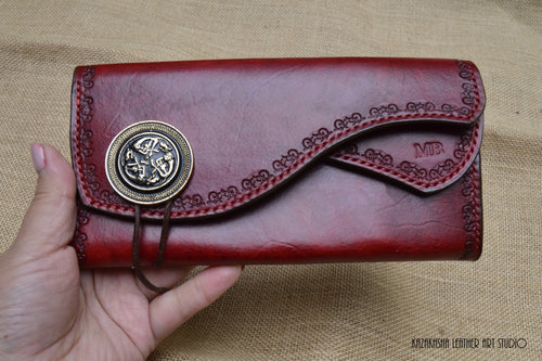 Celtic Hounds Leather wallet, bright classic red, Genuine Leather Wallet Designer