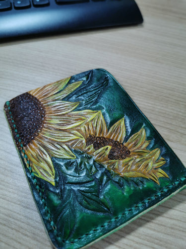 Sunflowers leather card wallet