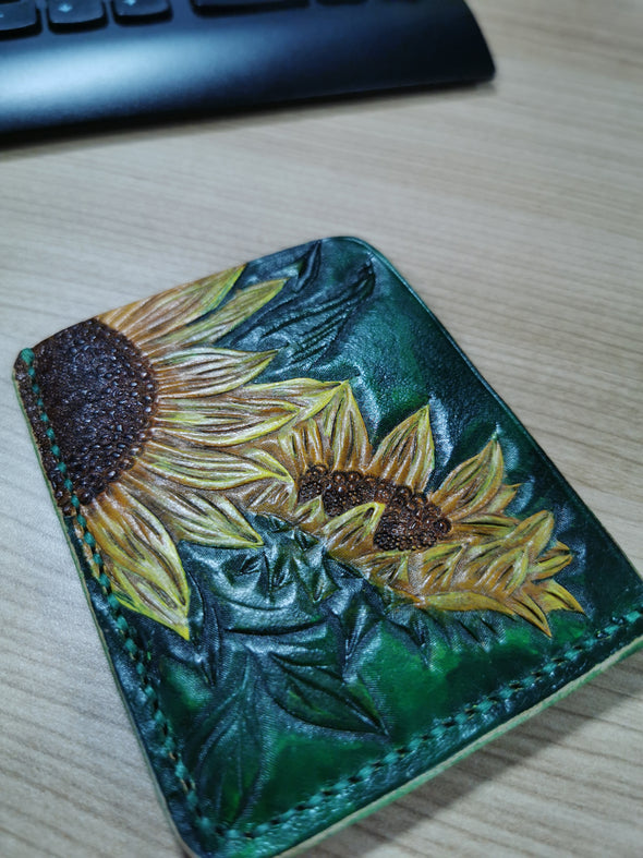 Sunflowers leather card wallet, handmade card wallet