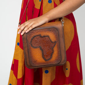 Africa Leather Messenger Handbag, handmade and tooled - Kazakhsha Leather Art Studio