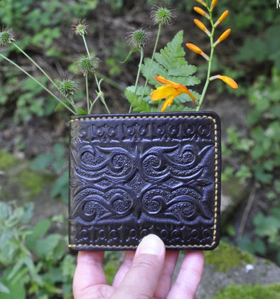 Bi-fold Leather wallet with hand tooled pattern, made to order - Kazakhsha Leather Art Studio