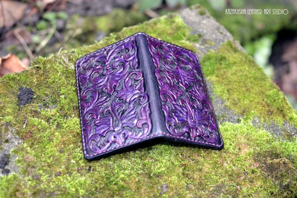 Bifold Leather in Victorian Gothic style, made to order, customisation available - Kazakhsha Leather Art Studio