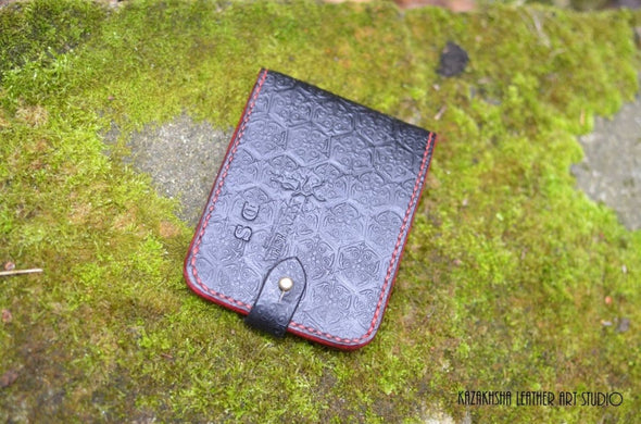 Bifold Leather wallet Black and Red Wallets Genuine Leather Wallet Designer - Kazakhsha Leather Art Studio