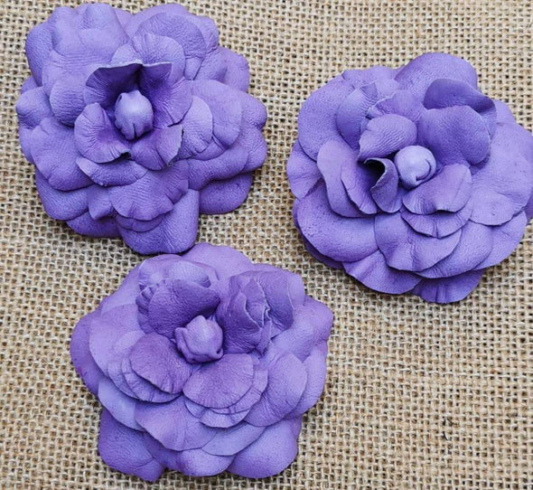 Camellia Leather flower brooch in lilac colour, leather flower corsage - Kazakhsha Leather Art Studio