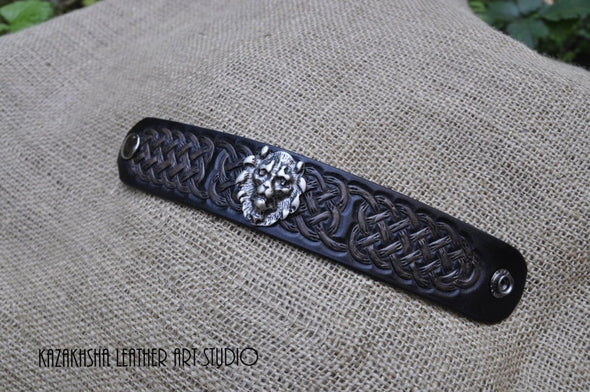 Celtic Leather bracelet with a head of Lion for good luck, present for him - Kazakhsha Leather Art Studio