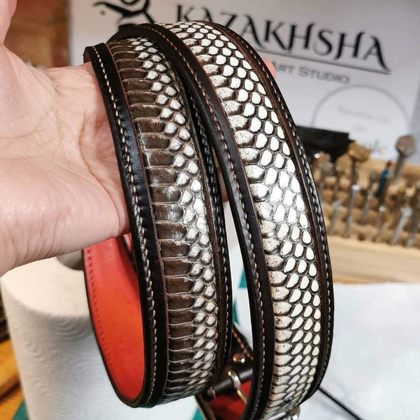 Cobra skin leather belt, handmade leather belt - Kazakhsha Leather Art Studio