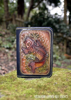 Coi Carp Feng Shui design Passport cover-wallet with credit card slots - Kazakhsha Leather Art Studio