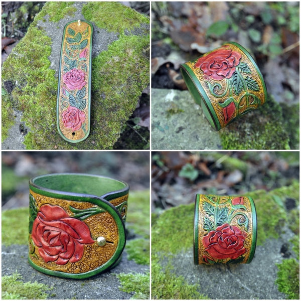 English Rose Garden, leather tooled bracelet, statement jewelry, made to order - Kazakhsha Leather Art Studio