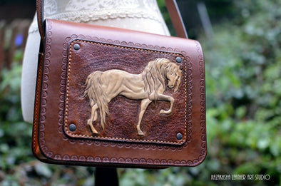 Equestrian style handbag, Handmade, Leather bag messenger, horse lovers handbag, perfect gift - Kazakhsha Leather Art Studio