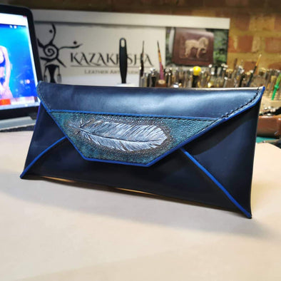 Evening leather clutch bag in navy blue, envelope handbag - Kazakhsha Leather Art Studio