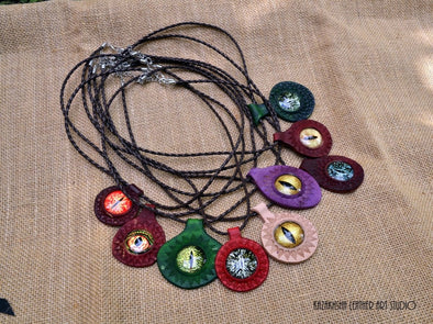 Evil eye protection necklaces - Kazakhsha Leather Art Studio