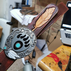 Feather Leather Belt, Native American style - Kazakhsha Leather Art Studio