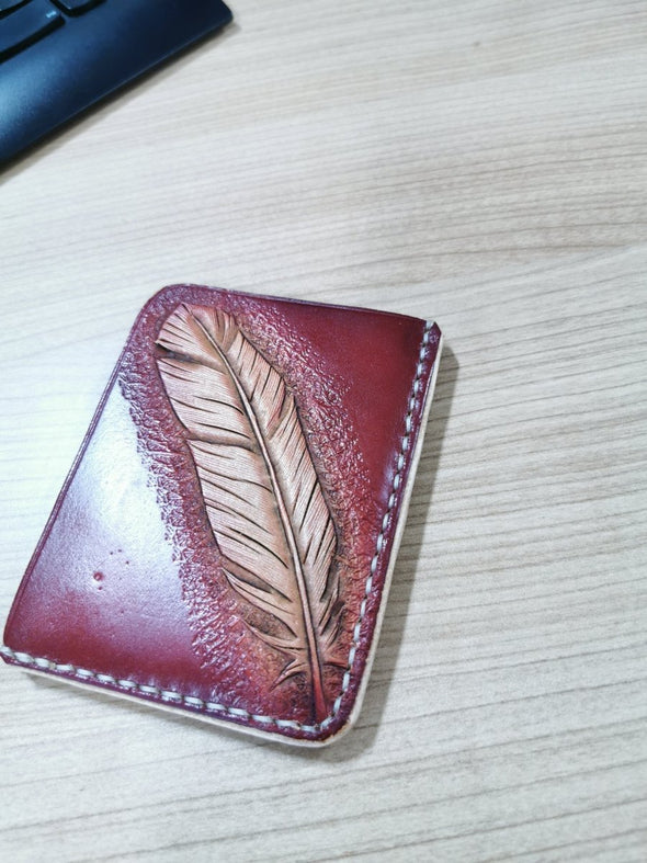 Feather leather card wallet - Kazakhsha Leather Art Studio