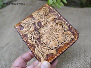 Flowers Leather wallet, Western Floral Bifold leather wallet, gift idea, Leather Wallet - Kazakhsha Leather Art Studio