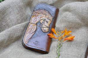 Genuine Leather Wallet Designer, Long wallet with picture of horse and words of wisdom - Kazakhsha Leather Art Studio