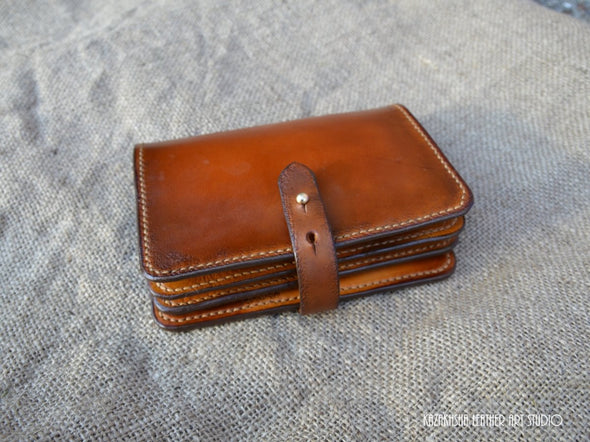 Genuine Leather Wallet, large size, made to order leather wallet - Kazakhsha Leather Art Studio