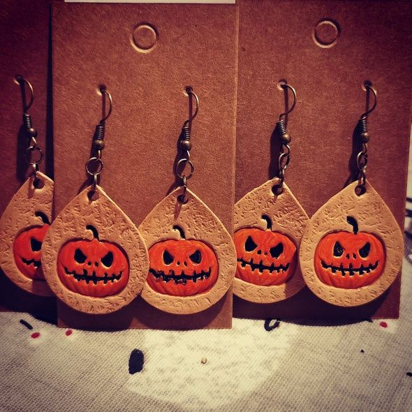 Halloween themed leather earrings - Kazakhsha Leather Art Studio
