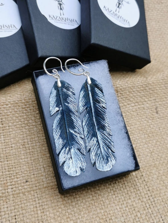 Hand carved Feather leather earrings in blue & silver, handmade earrings - Kazakhsha Leather Art Studio
