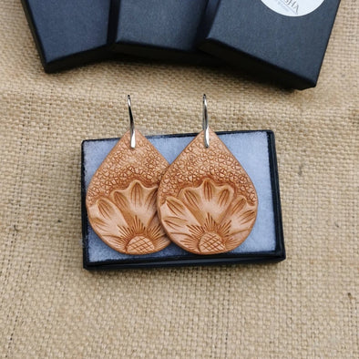 Hand carved Leather earrings, handmade earrings - Kazakhsha Leather Art Studio