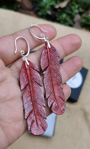 Hand carved Leather Feather earrings in Red & Silver colour, handmade earrings - Kazakhsha Leather Art Studio