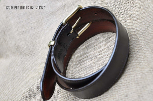 Hand stitched leather belt made to customer sizes - Kazakhsha Leather Art Studio