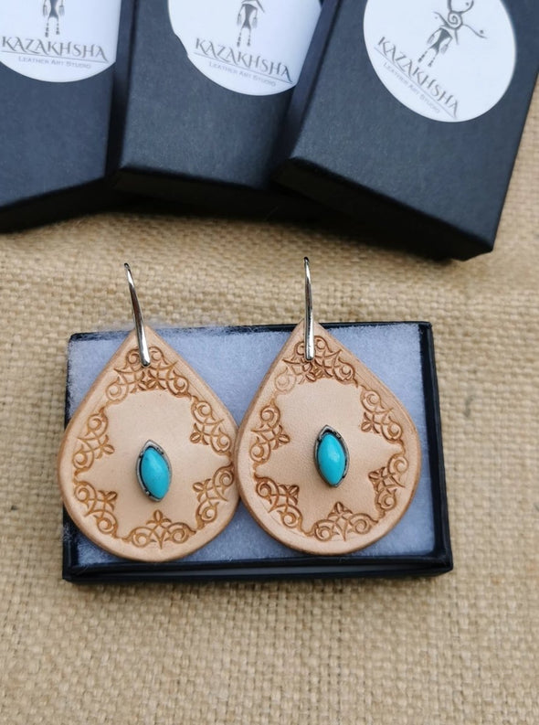 Handmade earrings, Hand carved Leather earrings - Kazakhsha Leather Art Studio