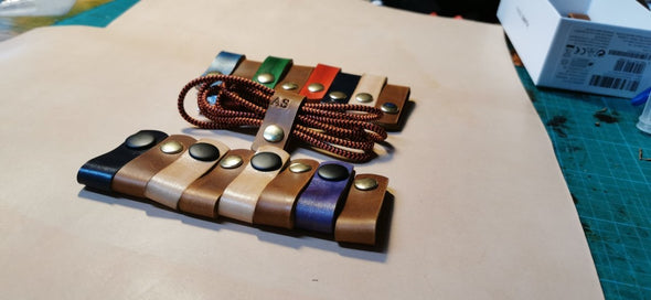 Handmade leather cable tidy for charging cables - Kazakhsha Leather Art Studio
