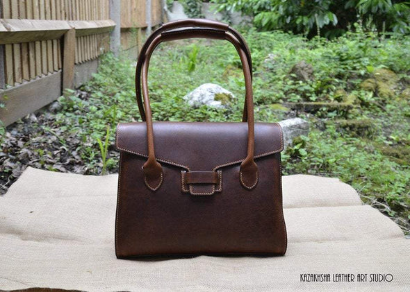 Handmade Leather Handbag, Metropolitan cowhide, business style - Kazakhsha Leather Art Studio