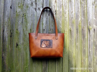 Handmade Leather Tote bag, Full-Grain Cowhide, Horse lovers - Kazakhsha Leather Art Studio
