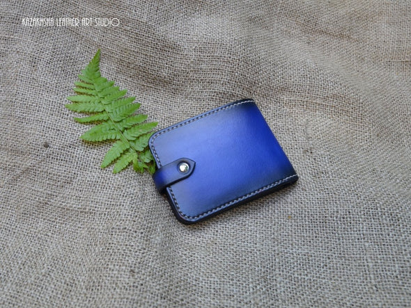 Handmade Leather Wallet, in Royal Blue, with coin slot and initials, Made to order - Kazakhsha Leather Art Studio