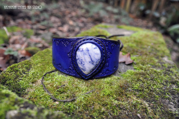 Blue Dalmatian Stone Leather bracelet by Kazakhsha Style - Kazakhsha Leather Art Studio
