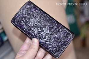 Leather wallet, Victorian Gothic styled card wallet bi fold, Designer