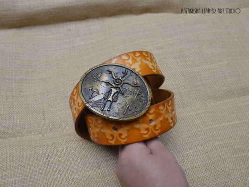 Kazakhsha styled leather belt with collectables belt buckle