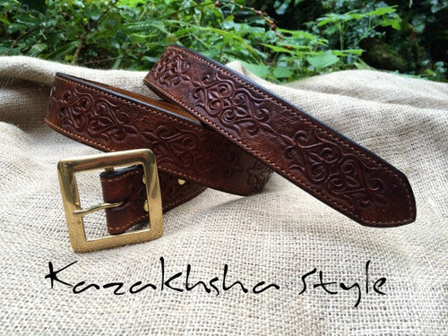 Leather belt, ethnic pattern, very strong, hand stitched, tooled leather in Kazakhsha Style
