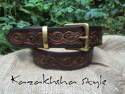 Tooled Leather belt, ethnic pattern, black leather belt, very strong, hand stitched belt