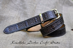 High quality Leather belt, ethnic pattern, black, very strong, hand stitched, by Kazakhsha Style