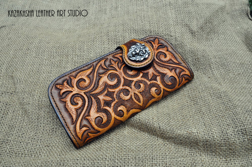 Handmade leather wallet, leather wallet for women