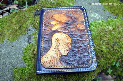Inner Piece Self Within OM - Passport cover wallet with credit card slots - Kazakhsha Leather Art Studio