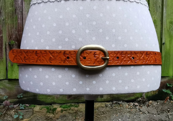 Kazakhsha styled leather belt in saddle tan colour - Kazakhsha Leather Art Studio