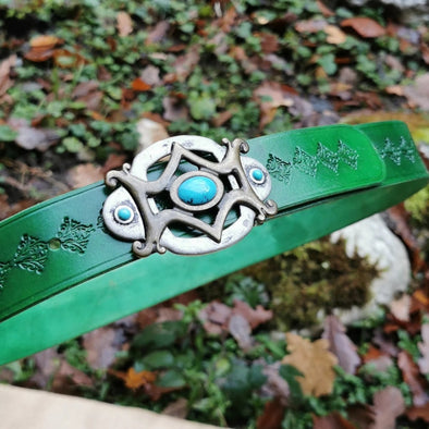 Kelly Green leather belt with handmade belt buckle - Kazakhsha Leather Art Studio