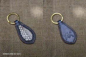 Key Fob with snakeskin inlays and tooled design of Sweet Couple - Kazakhsha Leather Art Studio