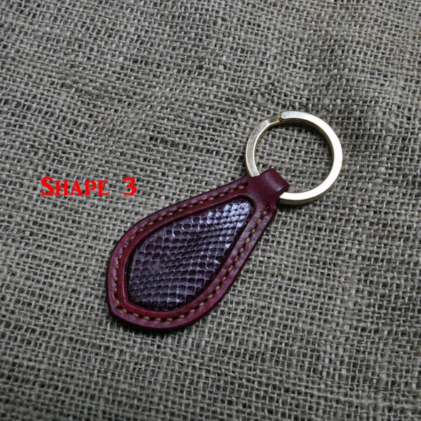 Key Fob with snakeskin inlays - customized with names and initials - MADE TO ORDER - Kazakhsha Leather Art Studio