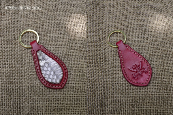 Key Fob with snakeskin inlays - red with white cobra skin - Kazakhsha Leather Art Studio